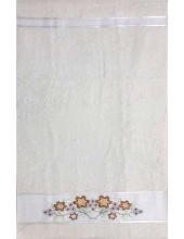 حوله دست و صورت - طرح گلدوزی گل مینا - بهباف - 40 در 80